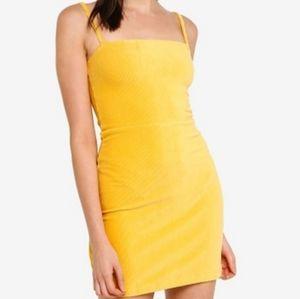 Yellow strap bodycon dress gold